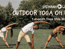 Outdoor yoga on us. One month free yoga this May.
